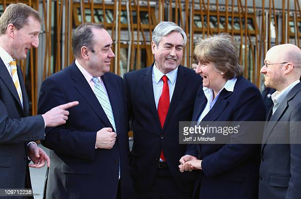 Scottish parliament's political party leaders Tavish Scott MSP Alex Salmond MSP Iain Gray MSP Annabel Goldie MSP and Patrick Harvie gather to give...
