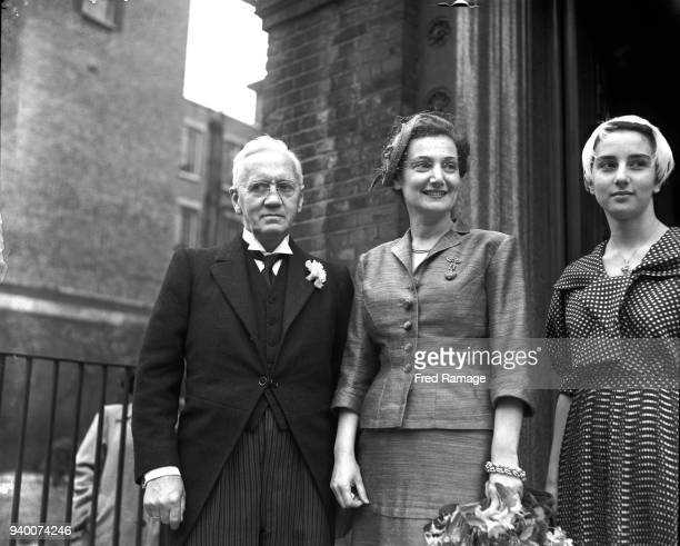 Scottish pharmacologist Sir Alexander Fleming leaves the Greek Orthodox Church in Bayswater with his wife Greek physician Amalia KoutsouriVourekas...