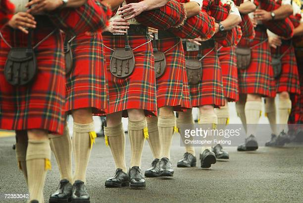 Scottish pipers take to the parade ground at Redford Barracks on August 4 2004 in Edinburgh Scotland Military Bands and performers from around the...