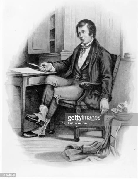 Scottish poet Robert Burns, , writing 'The Cotter's Saturday Night'.