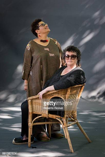 Scottish poets and writers Jackie Kay and Carol Ann Duffy attend a photocall at Edinburgh International Book Festival at Charlotte Square Gardens on...