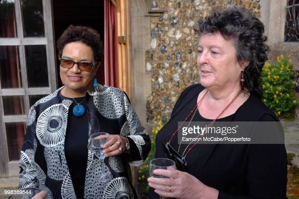 Scottish poets Jackie Kay and Carol Ann Duffy Aldeburgh Suffolk 19th June 2017
