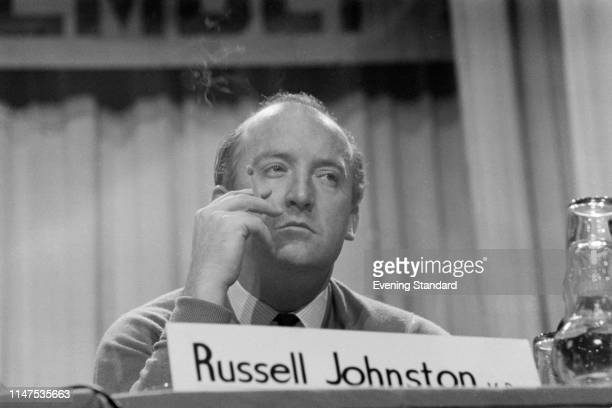 Scottish politician Russell Johnston smoking a cigarette at a Trades Union Congress conference, UK, 18th September 1969.