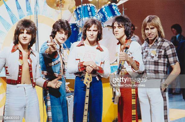 Scottish pop group the Bay City Rollers circa 1975 Left to right Eric Faulkner Les McKeown Alan Longmuir Stuart 'Woody' Wood and Derek Longmuir