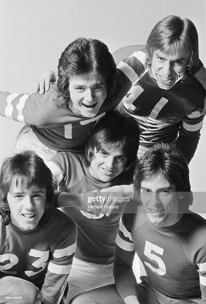 Scottish pop group The Bay City Rollers, March 1974. Clockwise from centre: Eric Faulkner, Stuart 'Woody' Wood, Les McKeown, Derek Longmuir and Alan Longmuir.