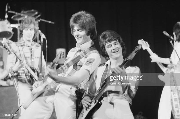 Scottish pop group the Bay City Rollers performing at the Birmigham Odeon 1975 Left to right Alan Longmuir Eric Faulkner Les McKeown and Stuart...