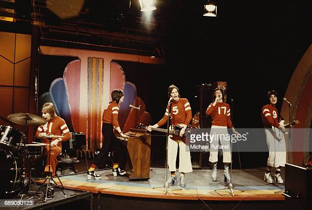 Scottish pop group The Bay City Rollers performing on the BBC TV music show 'Top Of The Pops' London 7th March 1974 Left to right Derek Longmuir John...