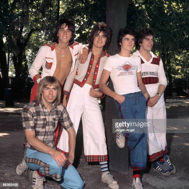 Scottish pop group the Bay City Rollers pose for a group shot in the Tivoli Gardens Stuart Wood Eric Faulkner Les McKeown Alan Longmuir Derek...