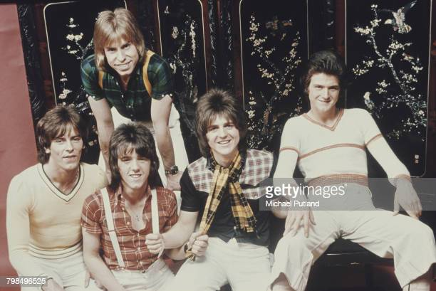 Scottish pop group The Bay City Rollers posed together in 1974 The band are from left to right Alan Longmuir Derek Longmuir Stuart 'Woody' Wood Eric...