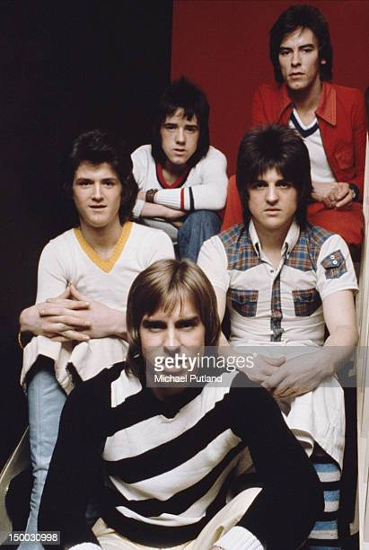 Scottish pop group The Bay City Rollers UK March 1974 Clockwise from front centre Derek Longmuir Les Mckeown Alan Longmuir Eric Faulkner and Stuart...