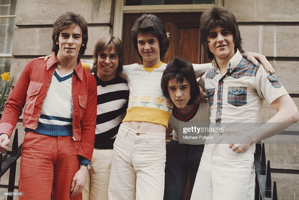 Scottish pop group The Bay City Rollers, UK, March 1974. Left to right: Eric Faulkner, Derek Longmuir, Les Mckeown, Alan Longmuir and Stuart 'Woody' Wood.