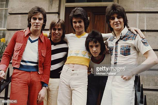 Scottish pop group The Bay City Rollers UK March 1974 Left to right Eric Faulkner Derek Longmuir Les Mckeown Alan Longmuir and Stuart 'Woody' Wood