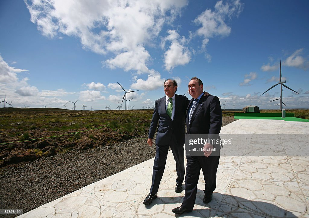 Scottish power chairman Ignacio Galan and Alex Salmond, Scotland's First Minister, pose as Whitelee, Europe's largest onshore wind farm, officially opens on May 20, 2009 in Eaglesham, Scotland. The Whitelee wind farm will power 180,000 homes and has plans granted by the Scottish Government to power a further 70,000.