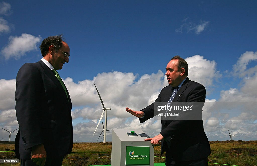 Scottish power chairman Ignacio Galan and Alex Salmond, Scotland's First Minister, switch on Whitelee, Europe's largest onshore wind farm, as it officially opens on May 20, 2009 in Eaglesham, Scotland. The Whitelee wind farm will power 180,000 homes and has plans granted by the Scottish Government to power a further 70,000.