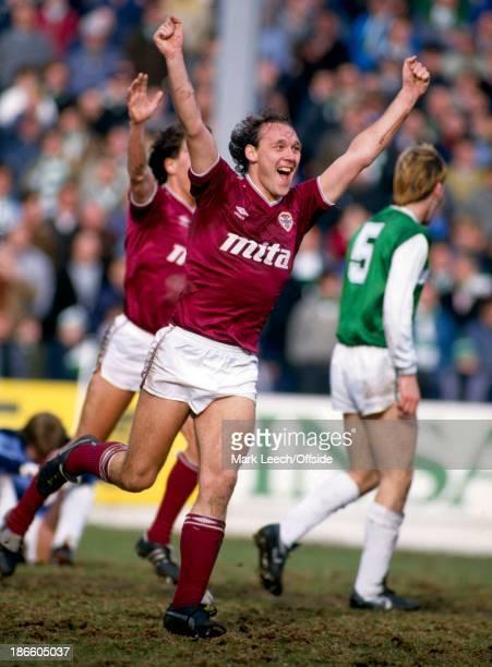 Scottish Premier League Football Hibernian v Hearts of Midlothian Sandy Clark celebrates his goal for Hearts