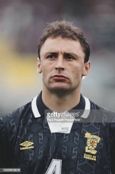 Scottish professional footballer Maurice Malpas defender with Dundee United posed prior to playing for the Scotland national team against Netherlands...