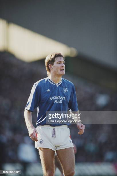 Scottish professional footballer Richard Gough defender with Rangers FC pictured in action for Rangers in a match against Celtic FC in Glasgow during...