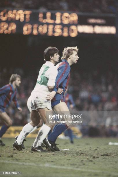 Scottish professional footballer Steve Archibald striker with FC Barcelona pictured on right being marked closely by Lopez Perez of Elche during a La...