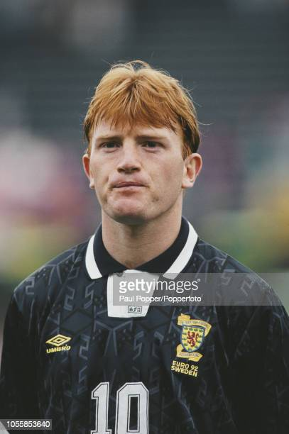 Scottish professional footballer Stuart McCall midfielder with Rangers FC posed prior to playing for the Scotland national team against Netherlands...