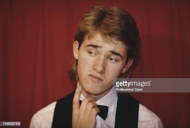 Scottish professional snooker player Stephen Hendry pictured during play in the 1990 Embassy World Snooker Championship at the Crucible Theatre in...