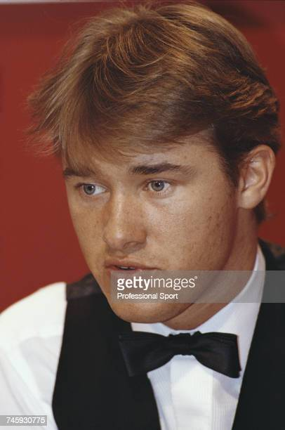 Scottish professional snooker player Stephen Hendry pictured during play in the 1993 Embassy World Snooker Championship at the Crucible Theatre in...