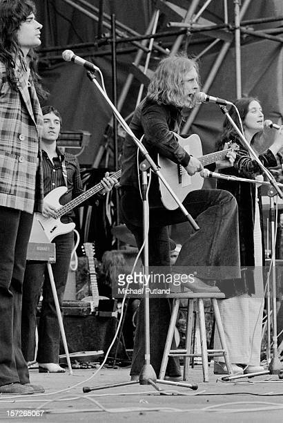 Scottish psychedelic folk group The Incredible String Band performing at the Great Western Express Lincoln Festival, Bardney, Lincolnshire, 28th May...