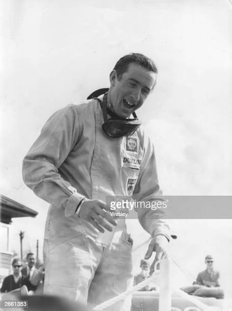 Scottish racing driver Jackie Stewart at Silverstone after winning an international trophy for third place in the 1965 World Championships Stewart...
