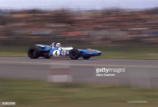 Scottish racing driver Jackie Stewart in the No. 3 Matra-Cosworth MS80 during the Mexican Grand Prix in Mexico City. Stewart finished fourth in this...