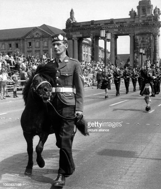 A Scottish regiment with their mascot a pony marching ahead during the final rehearsal for the parade on occasion of the 'Armed Forces Day' on 14th...