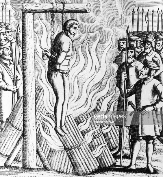 Scottish religious reformer George Wishart is burnt on a gibbet in St Andrews, as a Protestant martyr, 1st March 1546.