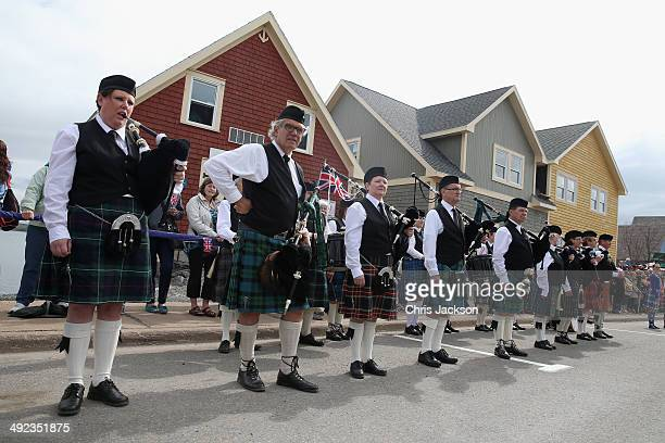Scottish residents of Pictou wait for the royal couple at Hector Quay on May 19 2014 in Pictou Canada The Prince of Wales and Duchess of Cornwall are...