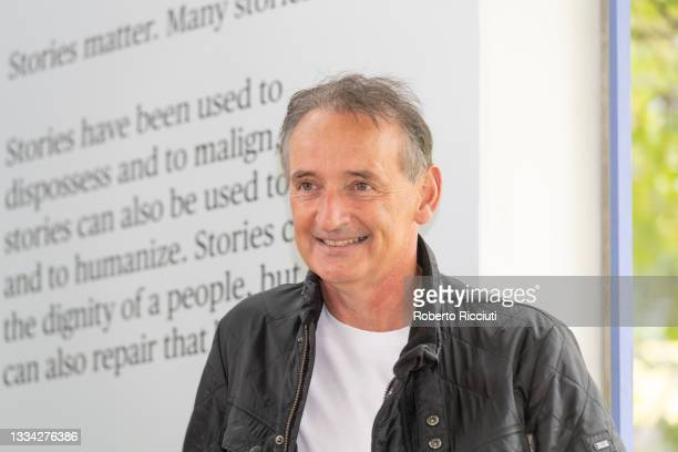 Scottish retired footballer and author Pat Nevin attends a photocall during the Edinburgh International Book Festival 2021 on August 15, 2021 in...