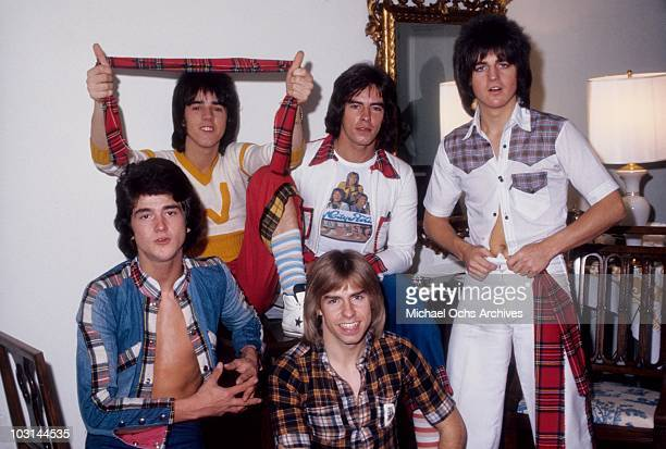 Scottish rock band 'The Bay City Rollers' pose for a portrait in October 1975 in Los Angeles California Leslie Mckeown Stuart 'Woody' Wood Alan...