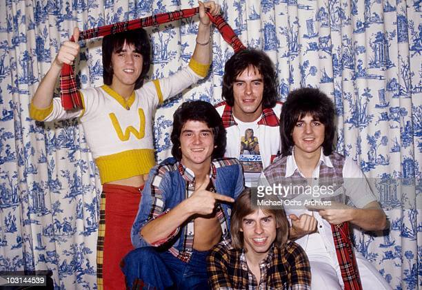 Scottish rock band 'The Bay City Rollers' pose for a portrait in October 1975 in Los Angeles California Stuart 'Woody' Wood Leslie Mckeown Alan...