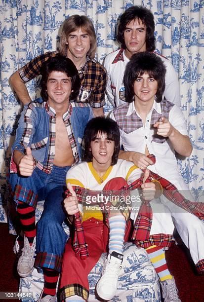 Scottish rock band 'The Bay City Rollers' pose for a portrait in October 1975 in Los Angeles California Derek Longmuir Alan Longmuir Eric Faulkner...