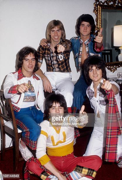 Scottish rock band 'The Bay City Rollers' pose for a portrait in October 1975 in Los Angeles California Alan Longmuir Derek Longmuir Leslie Mckeown...