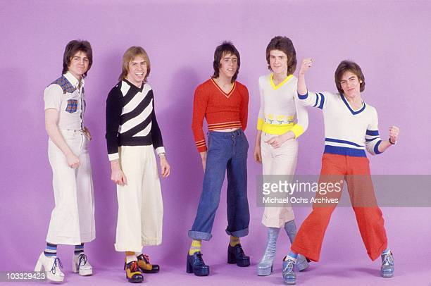 Scottish rock band 'The Bay City Rollers' pose for a portrait in February 1976 in Los Angeles California Eric Faulkner Derek Longmuir Stuart 'Woody'...