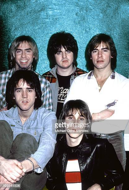 Scottish rock band 'The Bay City Rollers' pose for a portrait in December 1978 in Los Angeles California Derek Longmuir Eric Faulkner and Alan...
