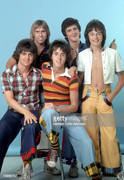 Scottish rock band 'The Bay City Rollers' pose for a portrait in December 1978 in Los Angeles California Derek Longmuir Leslie Mckeown and Ian...
