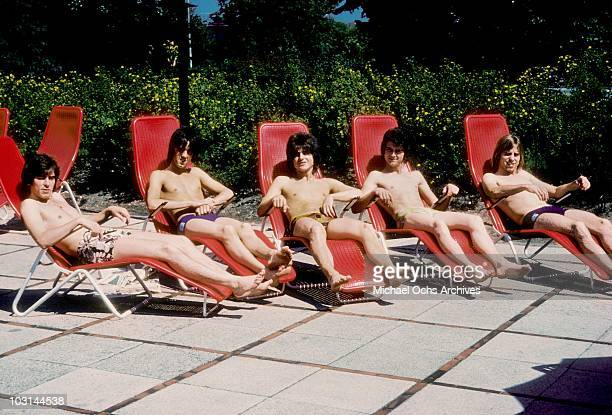 Scottish rock band 'The Bay City Rollers' pose for a portrait in August 1975 in Los Angeles California Alan Longmuir Stuart 'Woody' Wood' Eric...