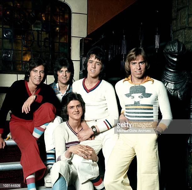 Scottish rock band 'The Bay City Rollers' pose for a portrait in circa 1975 in Los Angeles California Alan Longmuir Eric Faulkner Stuart 'Woody' Wood...