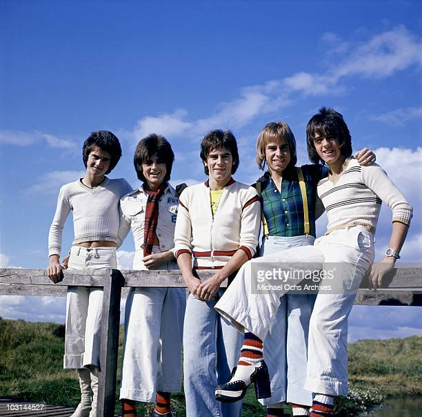 Scottish rock band 'The Bay City Rollers' pose for a portrait in circa 1975 in Los Angeles California Leslie Mckeown Eric Faulkner Alan Longmuir...