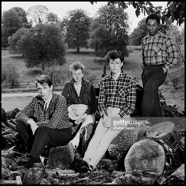 Scottish rock group Big Country photographed at the Manor Studios Oxfordshire in 1983 Left to right drummer Mark Brzezicki guitarist Bruce Watson...