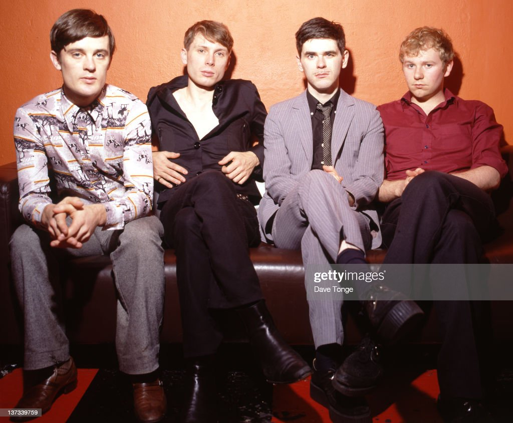 Scottish rock group Franz Ferdinand, backstage at the recording of a 'CD:UK' TV show, Riverside Studios, Hammersmith, London, 2004. Left to right: Nick McCarthy, Alex Kapranos, Paul Thomson and Bob Hardy.