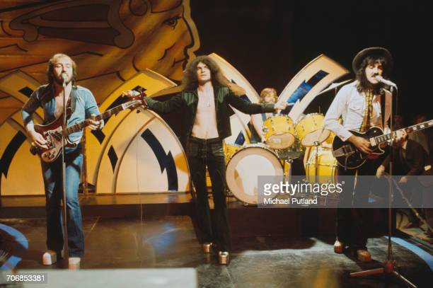 Scottish rock group Nazareth miming to their single 'This Flight Tonight' on the BBC TV music show 'Top Of The Pops' London 8th November 1973 Left to...