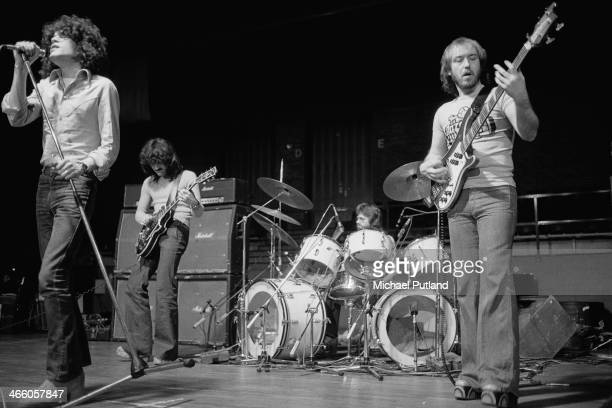 Scottish rock group Nazareth performing on stage 1974 Left to right Dan McCafferty Manny Charlton Darrell Sweet and Pete Agnew
