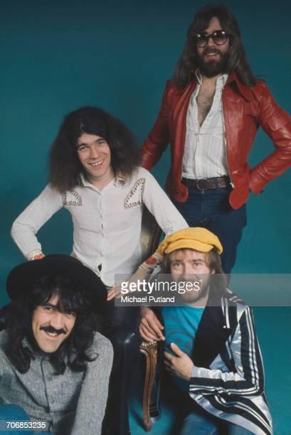 Scottish rock group Nazareth posed in London circa 1974 Clockwise from bottom left guitarist Manny Charlton singer Dan McCafferty drummer Darrell...