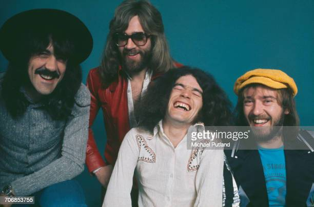Scottish rock group Nazareth posed in London circa 1974 The band members are from left to right guitarist Manny Charlton drummer Darrell Sweet singer...