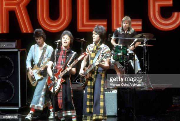 Scottish rock group 'The Bay City Rollers' perform on a TV show in April 1976 in Los Angeles California