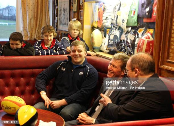 Scottish Rugby Chief Executive Gordon McKie Cabinet Secretary for Justice Kenny MacAskill MSP and Scotland rugby player Moray Low with members of...